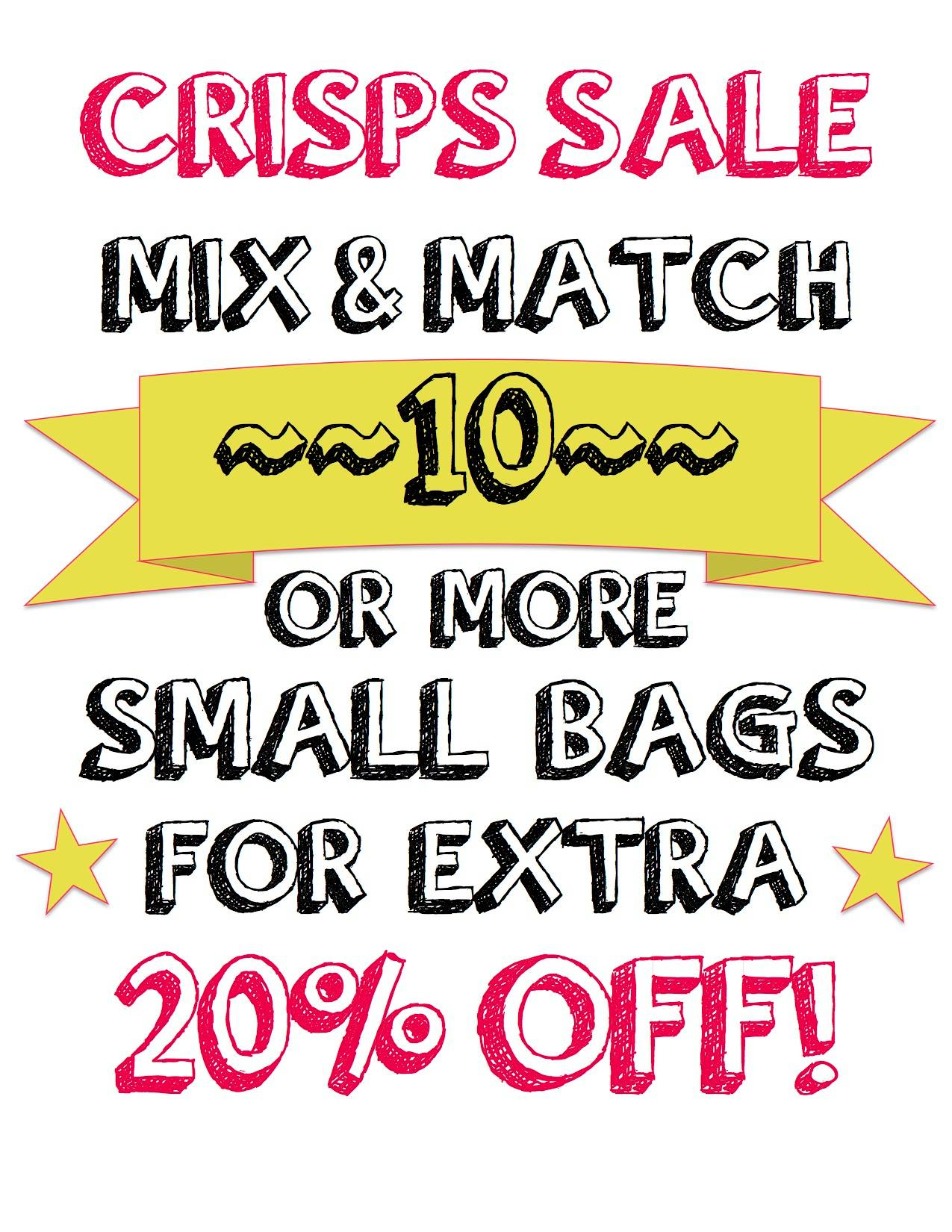 crisps sale buy 10 small bags get 20% off